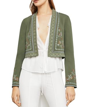 FLORAL EMBROIDERED CROPPED JACKET