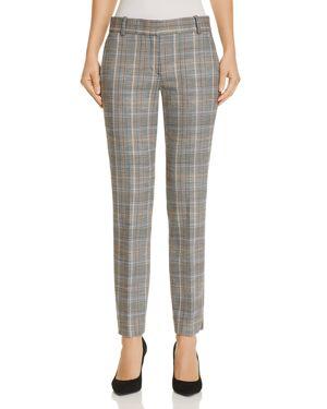 Autumn Plaid Straight-Leg Ankle Trousers, Multi