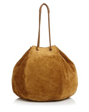 CREATURES OF COMFORT Creatures Of Comfort Large Convertible Suede Puff Bag in Ochre Brown/Gold