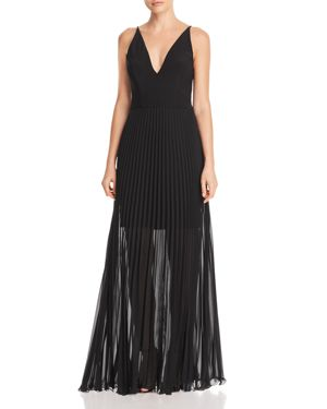 AVERY G PLEATED ILLUSION GOWN