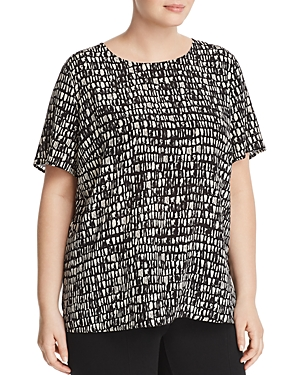 New Eileen Fisher Plus Printed Silk Top, Peble