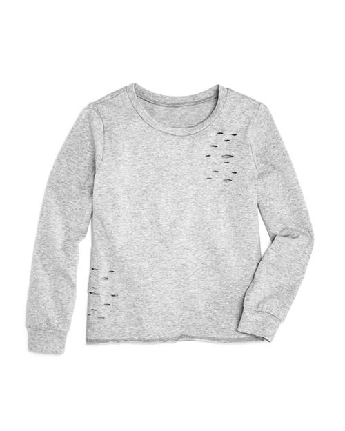 AQUA - Girls' Distressed Terry Sweater, Big Kid - 100% Exclusive