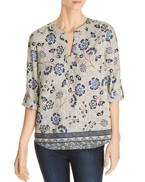 Daniel Rainn Floral-Print Split-Neck Top