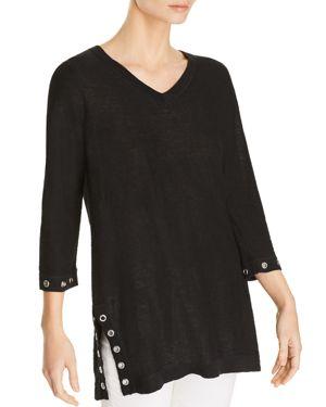 AVEC Grommet-Trim Slub-Cotton Sweater in Black