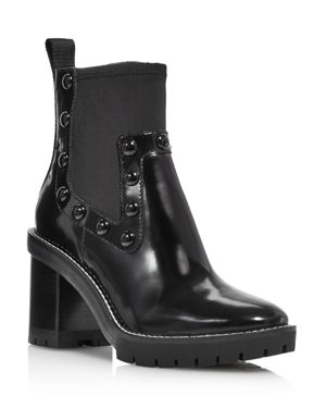 Women'S Preston Round-Toe Studded High-Heel Leather Boots, Perfect Black