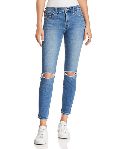 Current/Elliott - The Stiletto Distressed Cropped Skinny Jeans in 2 Year Destroy Stretch Indigo