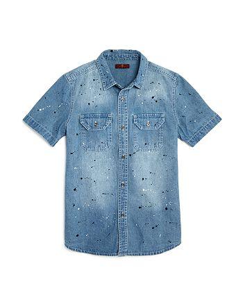 7 For All Mankind - Boys' Paint-Splattered Denim Shirt - Big Kid