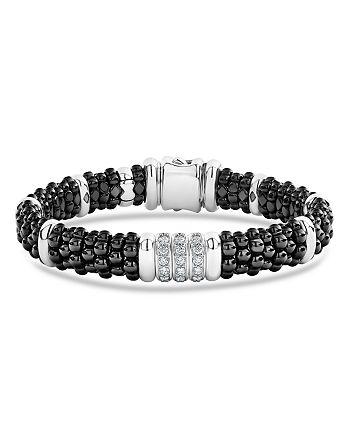 LAGOS - Sterling Silver Black Caviar Collection Pavé Diamond & Black Ceramic Station Bracelet