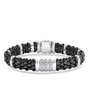 Lagos Sterling Silver Black Caviar Collection Pave Diamond & Black Ceramic Station Bracelet