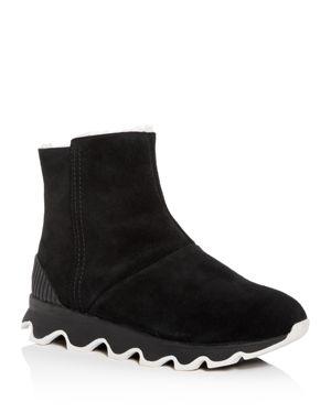 Women'S Kinetic Nubuck Leather Platform Booties, Black Sea Salt