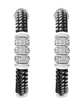 LAGOS - Sterling Silver Black Caviar Diamond & Black Ceramic Hoop Earrings