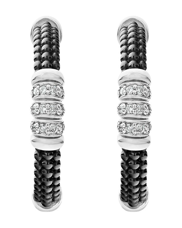 54115e0e9 LAGOS - Sterling Silver Black Caviar Diamond & Black Ceramic Hoop Earrings