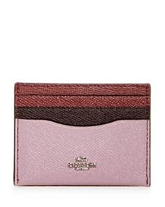 COACH Color-Block Crossgrain Leather Card Case - Bloomingdale's_0