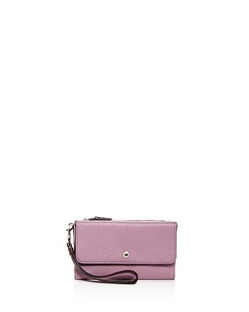 COACH - Color-Block Triple Pouch Leather Wristlet