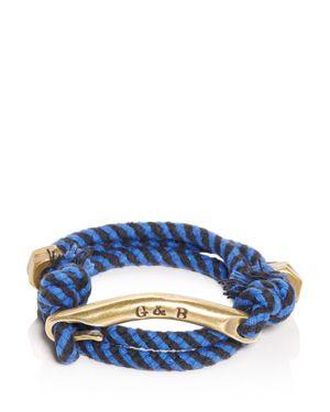 GILES & BROTHER Id Bar Wraparound Striped Rope Bracelet in Brass Blue