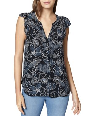 Wildflower Print Sleeveless Ruffle Top
