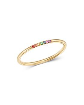 Zoë Chicco - 14K Yellow Gold Pavé-Set Rainbow Sapphire Round Band Ring