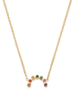 "Zoë Chicco - 14K Yellow Gold Rainbow Sapphire Small Arc Pendant Adjustable Necklace, 14""-16"""