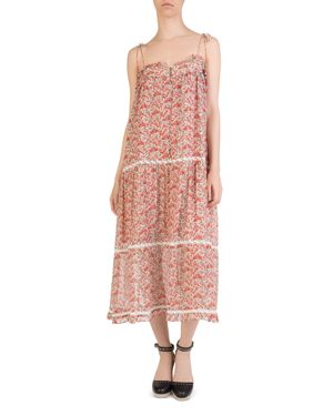 The Kooples Lace-Inset Floral Print Silk Dress