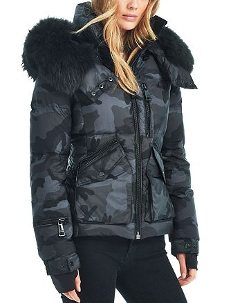 39bae79293a9c SAM. Camo Fur Trim Jetset Down Jacket | Bloomingdale's