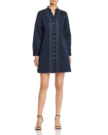 Badgley Mischka - Embellished Shirt Dress