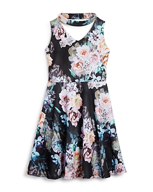 Pippa & Julie Girls' Gigi Floral Print Choker Dress - Big Kid