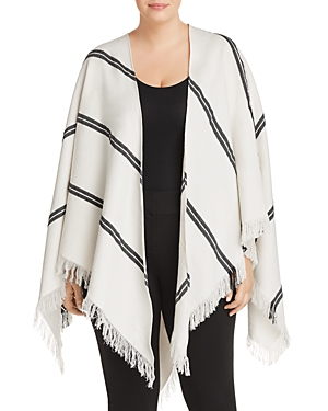 New Eileen Fisher Plus Striped Organic Cotton Poncho, Soft White