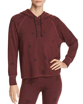 Sundry -  Star Print Hooded Sweatshirt