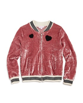 Design History - Girls' Crushed Velvet Bomber Jacket - Little Kid