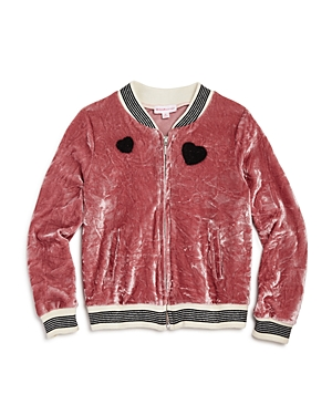 Design History Girls' Crushed Velvet Bomber Jacket - Little Kid