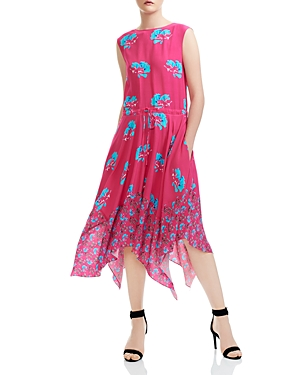 Maje Rushia Floral Print Midi Dress