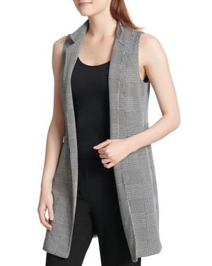GLEN PLAID LONG BLAZER VEST