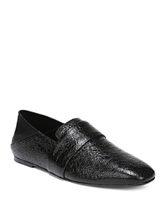 Vince - Women's Harris Almond-Toe Textured Patent Leather Loafers