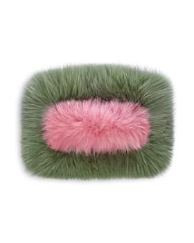 Charlotte Simone - Candy Color-Block Fox-Fur Clutch