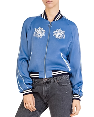 The Kooples Embroidered Satin Bomber Jacket