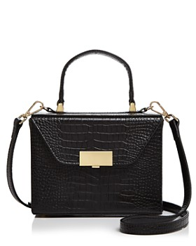 AQUA - Medium Croc-Embossed Box Bag Satchel - 100% Exclusive