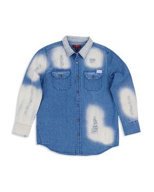 7 For All Mankind Girls' Oversize Bleached All Kinds Denim Shirt - Big Kid