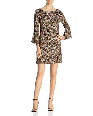 Three Dots Dresses LEOPARD BELL-SLEEVE DRESS