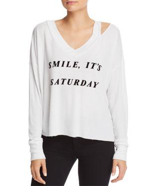 It's Saturday Haley V-Neck Sweatshirt