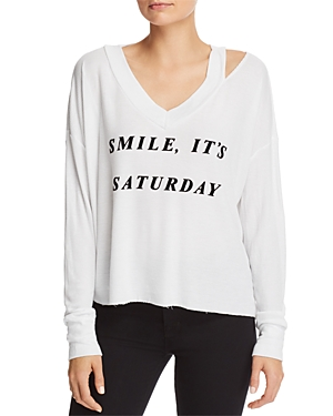 Wildfox Smile It's Saturday Waffle-Knit Tee