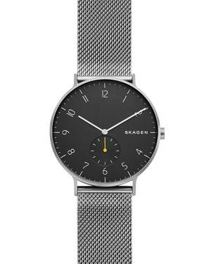SKAGEN Men'S Aaren Gray Stainless Steel Mesh Bracelet Watch 40Mm in Black Ip