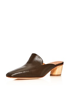 LoQ - Women's Belen Square Toe Leather Low-Heel Mules