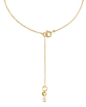Michael Kors - Kors Love Pavé Heart Sterling Silver Necklace in 14K Gold-Plated Sterling Silver, 14K Rose Gold-Plated Sterling Silver or Solid Sterling Silver, 16""