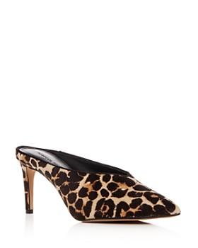 Rebecca Minkoff - Women's Gabian Leopard Print Calf Hair Mid-Heel Mules