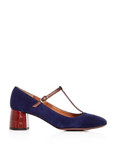 Chie Mihara - Women's T-Strap Mary Jane Leather & Suede Block-Heel Pumps