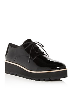 Eileen Fisher - Women's Eddy Patent Leather Plain Toe Platform Loafers