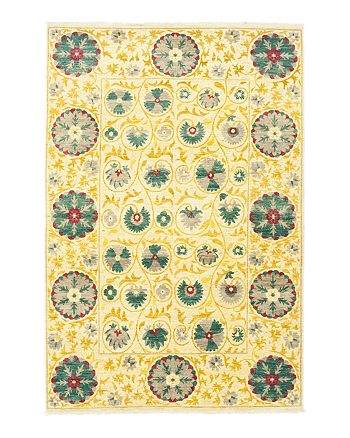 "Solo Rugs - Suzani 12 Hand-Knotted Area Rug, 6' 3"" x 9' 5"""