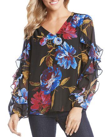 Karen Kane - Floral-Print Ruffle-Sleeve Top