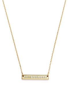 "Adina Reyter - 14K Yellow Gold Pavé Diamond Rectangle Stamp Pendant Necklace, 16"""