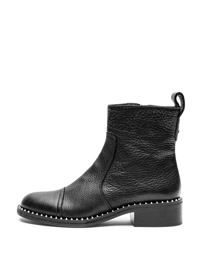Zadig & Voltaire - Women's Empress Clous Round Toe Leather Low-Heel Booties
